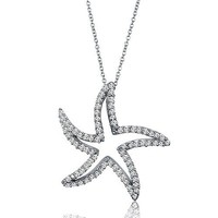 Sterling Silver Cubic Zirconia CZ Starfish Pendant w/ Chain Necklace #n711-01