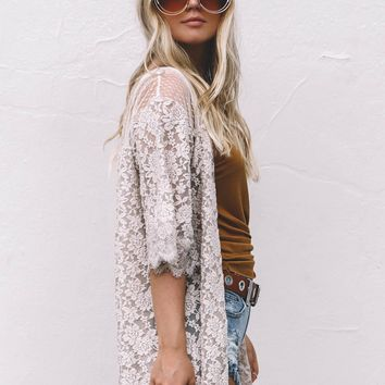 All Natural Sheer Lace Knit Cardigan