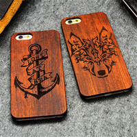 "Retro PC+Wood Skull Case for iPhone 6 4.7"" Novelty Vintage Case Cover for iPhone 6S SE 5S 7 7 Plus"