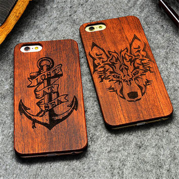 """Retro PC+Wood Skull Case for iPhone 6 4.7"""" Novelty Vintage Case Cover for iPhone 6S SE 5S 7 7 Plus"""