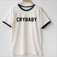 "Large size ""CRY BABY ""t-shirt  B0014785"