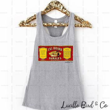 Texas Tamales Vintage Label Women's Graphic Print Racerback Tank