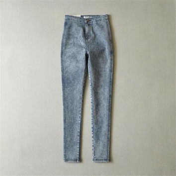 Summer Women's Fashion High Rise Denim Pants Skinny Pants [4920635844]