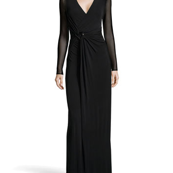 Women's Long-Sleeve Wrap Stretch Gown, Black - Halston Heritage - Black