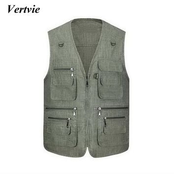 Outdoor Zipper Jacket Men Sport Fishing Vest Waistcoat Survival Utility Vest Backpack Overalls Plus Size Cotton Leisure Jackets