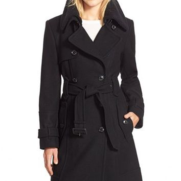 London Fog Faux Shearling Collar Long Belted Wool Blend Trench Coat | Nordstrom