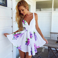 White Floral Print Deep V Sleeveless Skater Dress