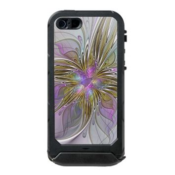 Floral abstract and colorful Fractal Art Waterproof iPhone SE/5/5s Case
