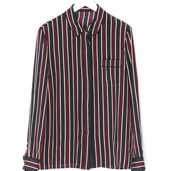 Red-Blue Striped Silk Shirt