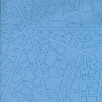 Barcelona City Map  by Zen Chic for Moda Fabrics, sky, 153325