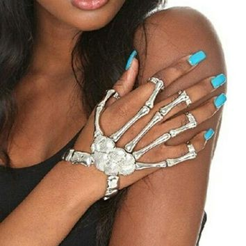 Full Skeleton Hand Bracelet Ring