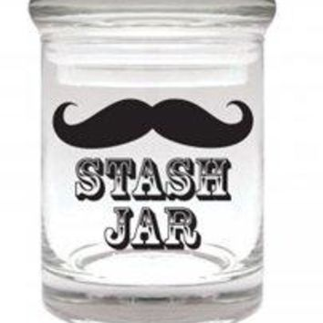 Stache Jar Pop Top Stash Jar- Airtight Smell Proof Shatter Resistant Glass Herb Container