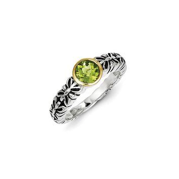 Antique Style Sterling Silver with 14k Gold 0.97 Peridot Ring