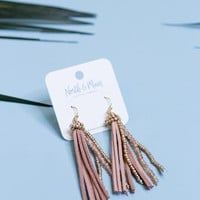 Zahara Tassel Earrings, Dust Pink
