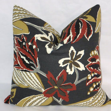 "Black Tropical Floral Throw Pillow Robert Allen Bright Floral Storm  Rust Gold 17"" Cotton Square Ready Ship Cover and Insert"