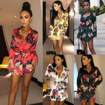 Summer Holiday Fashion Women Slim Sexy Romper Floral Casual Long Sleeve Beach Bandage Playsuit Short Mini Ladies
