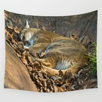Sleeping Mountain Lion Wall Tapestry by Scott Hervieux