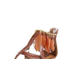 Ultima Feather Ankle Flat Sandals BROWN - Shoes - Shop