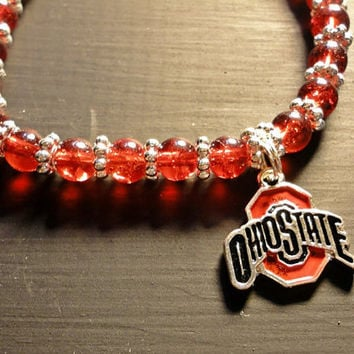 Scarlet crystal bead bracelet with Ohio State charm