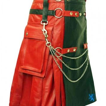 Red & Black Leather Fashion Kilt - Men's Kilt