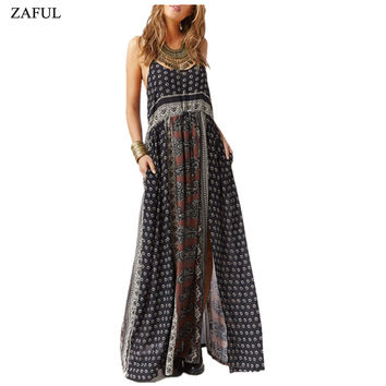 Women Summer Style Dresses Spaghetti Strap Print Open Back Floor Length High Slit Bohemian Ethnic Long Maxi Dress