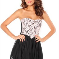 Bud silk chiffon stitching strapless dress from cassie2013