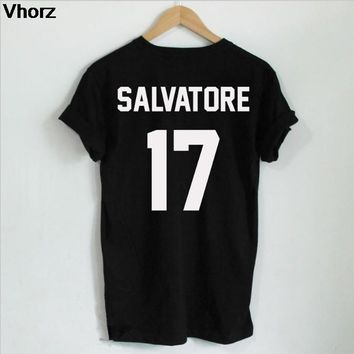 Casual Salvatore 17 T-shirt Year Of Birth Vampire Diaries Mystic Falls Tops Graphic Tee Shirts Tumblr Tshirt for Men Women