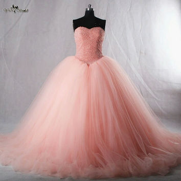 Luxuries Amazing 2016 Puffy Real Sample vestido de festa Ball Gown Lace Up Pearls Tulle Prom Dresses Floor Length