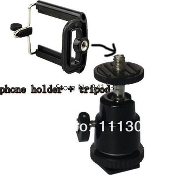 2in1 Mini Tripod Stand Holder+ Mini Tripod Stand Ball Head  for Mobile For Cell Phone 4 4g 5 5G Samsung galaxy S2 S4 i9200 I9500