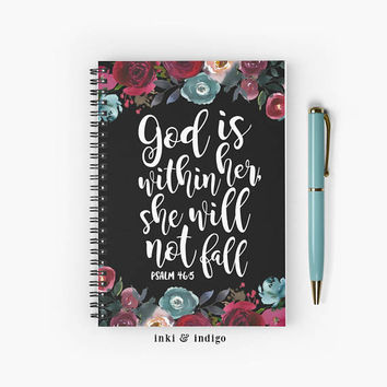 God Is Within Her She Will Not Fall - Spiral Notebook With Lined Paper, A5 Writing Journal, Diary, Lined Journal, Floral Scripture, Faith