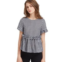 Black and White Plaid Short Sleeve Summer Casual Women Blouses Ruffle Detail Button Back Gingham Peplum Top
