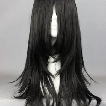 Sexy Design 60CM Long Black Anime NARUTO-Orochimaru/Hyuuga Neji wig anime Elastic Wig Cap Cosplay Wig,Colorful Candy Colored synthetic Hair Extension Hair piece 1pcs WIG-338A