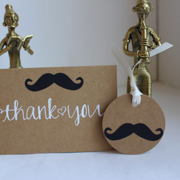 Little Man Birthday party - Mustache Package - Thank you Cards and Gift Tags