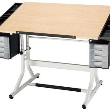 Alvin CraftMaster II Deluxe Art, Drawing, and Hobby Table White Base with Maple Woodgrain Top