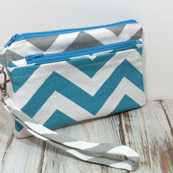 Gray and Turquoise Cell Phone Wristlet, Cell Phone Wallet, Chevron Clutch Bag, Zipper Pockets, Custom Colors