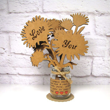 LOVE YOU - Corrugated Cardboard Flowers Bouquet In Mini Mason Jar Great Gift Idea