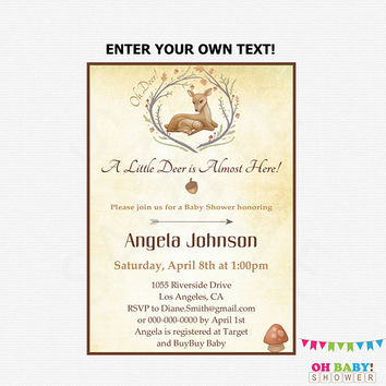 Deer Baby Shower Invitation, Woodland Baby Shower, Country Baby Shower Boy Girl, Editable Printable Download Oh Deer Invitation Rustic DEER1