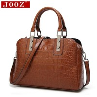 JOOZ New 2018 Alligator pattern women bag for big Shell Leather Bags High Quality office lady bag Emboss Women messenger bags