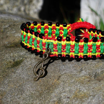 Rasta Hemp Music Note Charm Bracelet