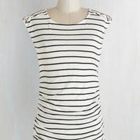 Mid-length Cap Sleeves Fluent in Fashion Top in Stripes