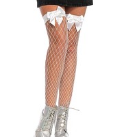 Fence Net White Bow Thigh Highs