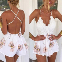 Faded Floral & Lace Romper