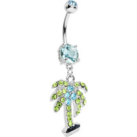 Aqua Double Gem Desert Oasis Palm Tree Dangle Belly Ring