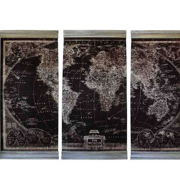 Antique World Map Wall DeCor, Set Of 3, Multicolor By Sagebrook Home