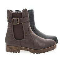 Rugged04 Brown By Bamboo, Round Toe Quilted Moto Lug Sole Faux Wooden Heel Ankle Boots