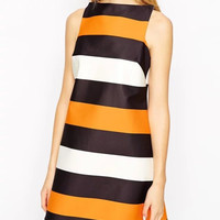 Block Stripe Sleeveless Zipper Back Dress