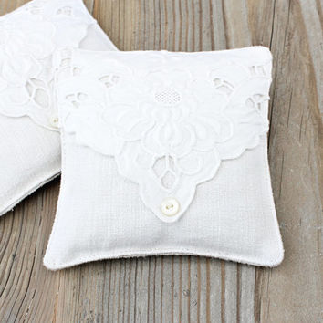 Vintage White Lavender Sachet, Shabby Home Decor, Romantic Decor