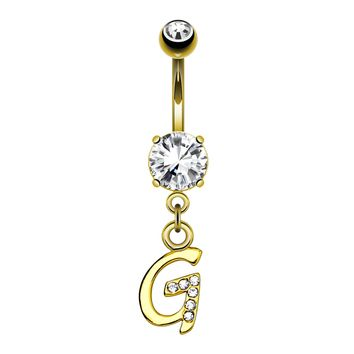 BodyJ4You Belly Button Ring G Letter Initial Dangle Surgical Steel Piercing Bar 14G Curved Barbell
