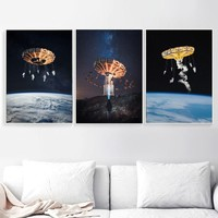 Surrealism Rotary Aircraft Nordic Posters And Prints Creativity Wall Art Canvas Painting Wall Pictures For Living Room Decor
