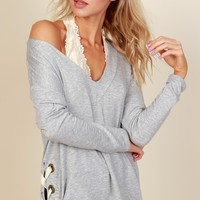 All Together Lace Up Tunic Grey